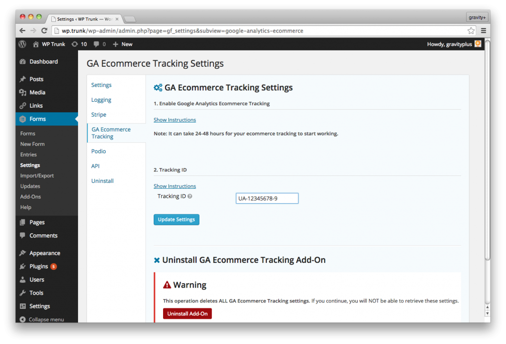 Gravity Forms Google Analytics Ecommerce Tracking setup