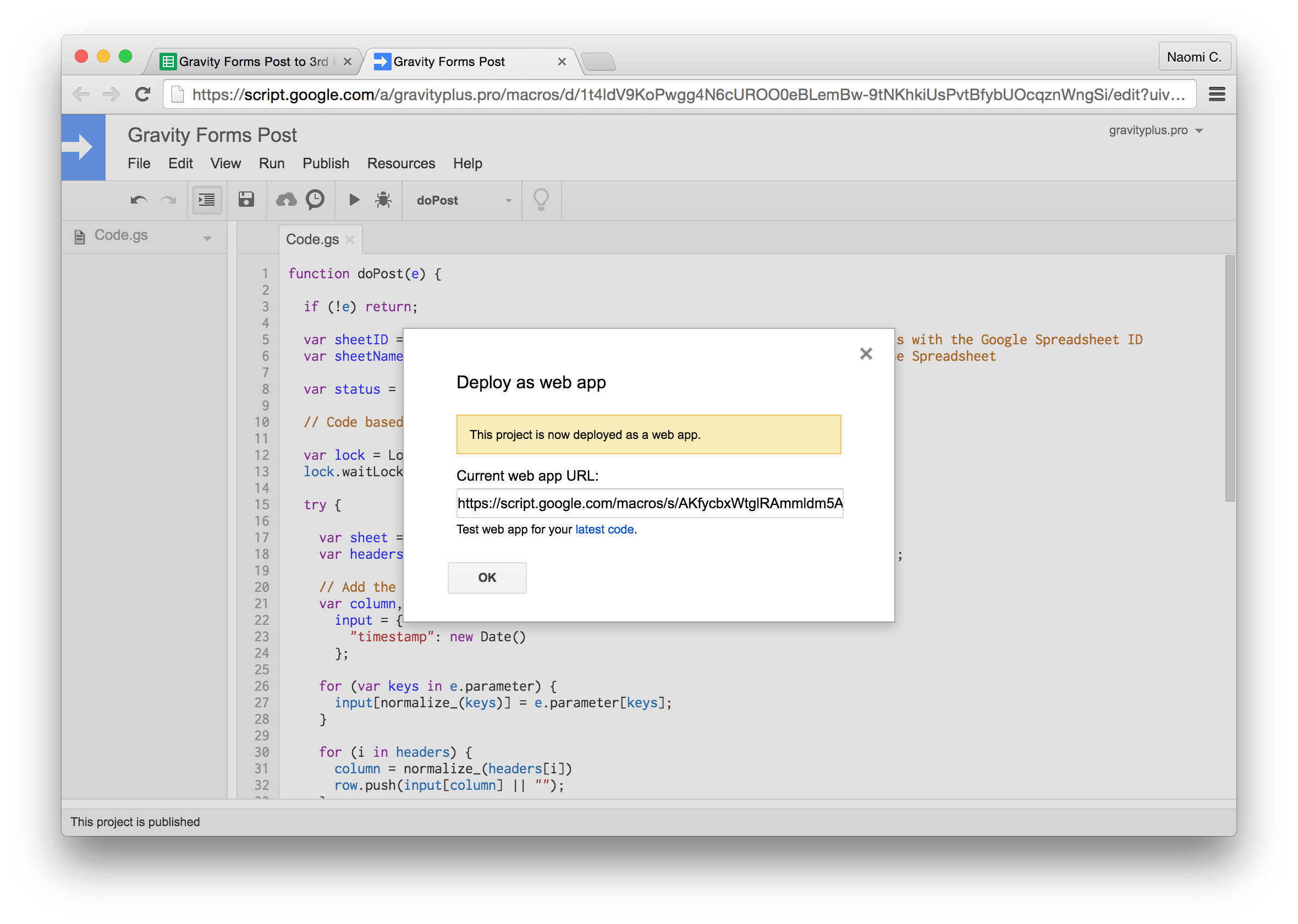 Gravity Forms to Google Sheets project deployed