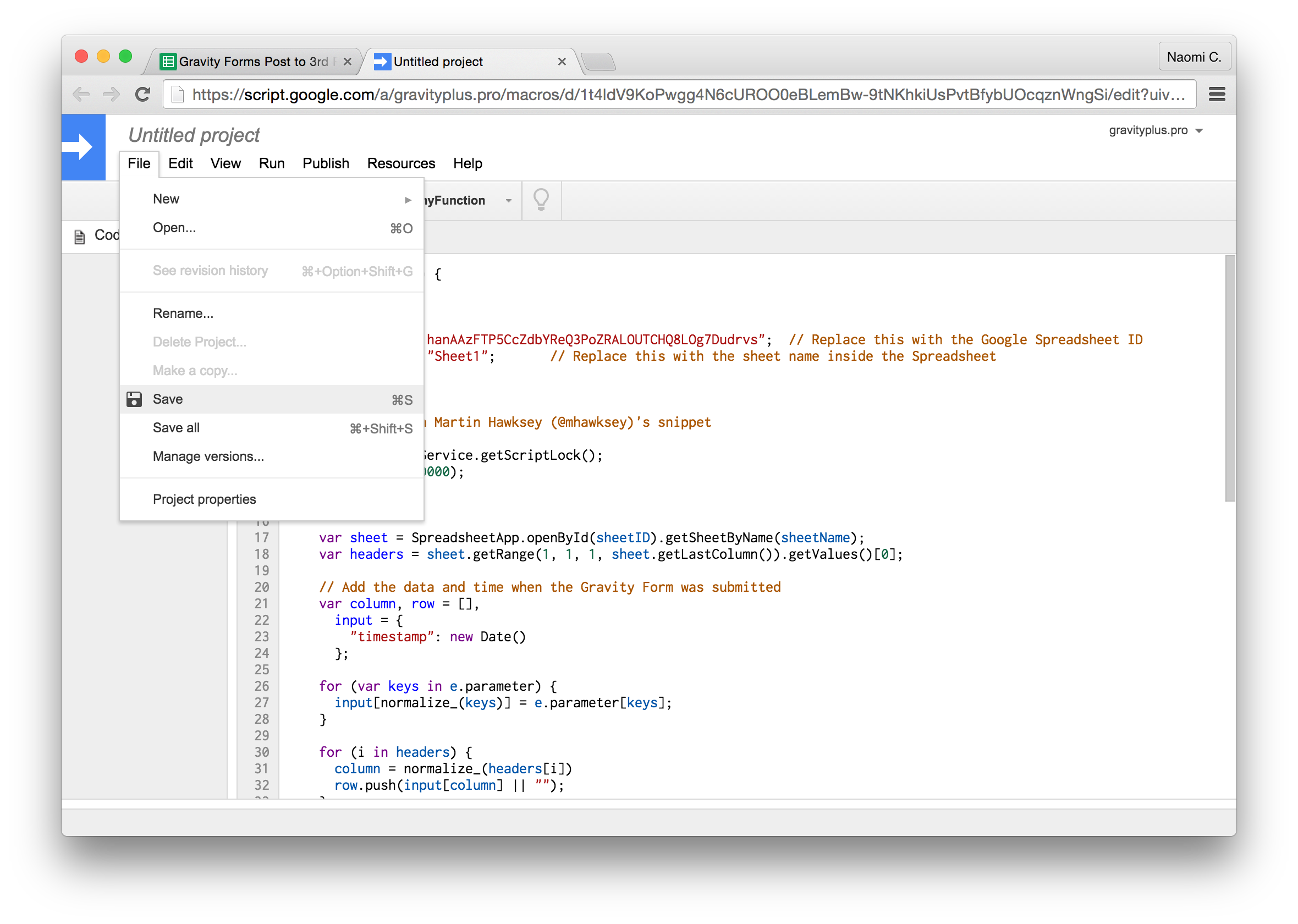 Gravity Forms to Google Sheets save script