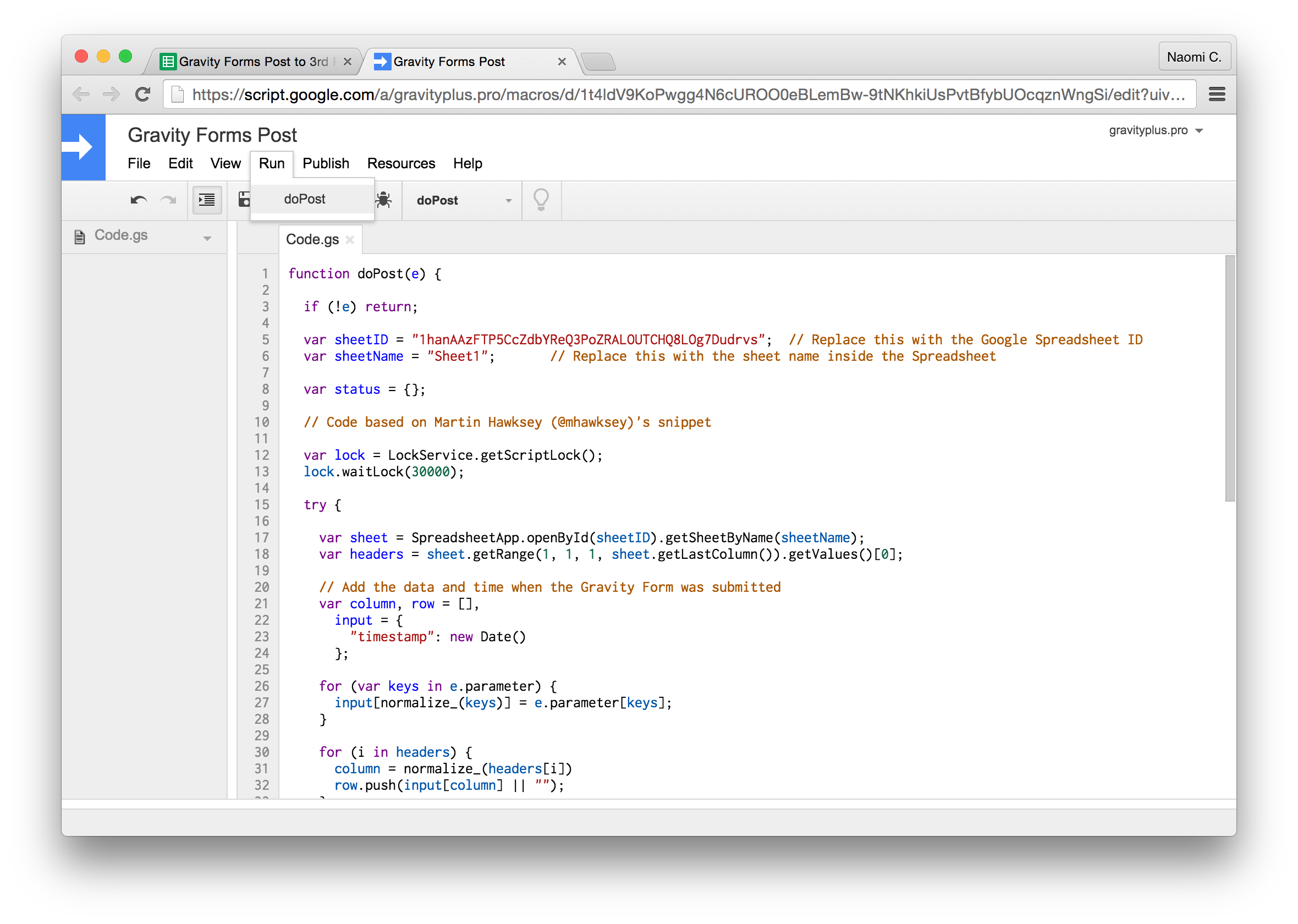 Gravity Forms to Google Sheets run google script function