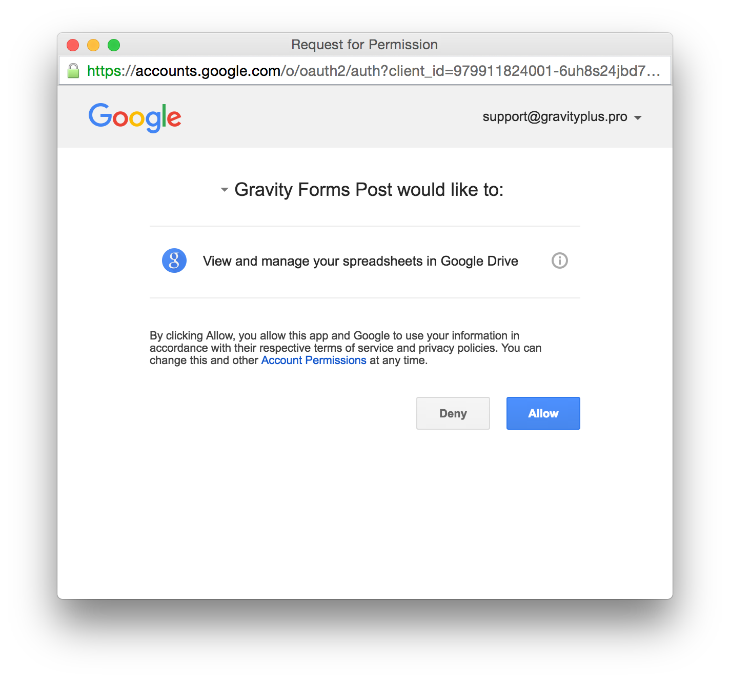 Gravity Forms to Google Sheets allow authorization