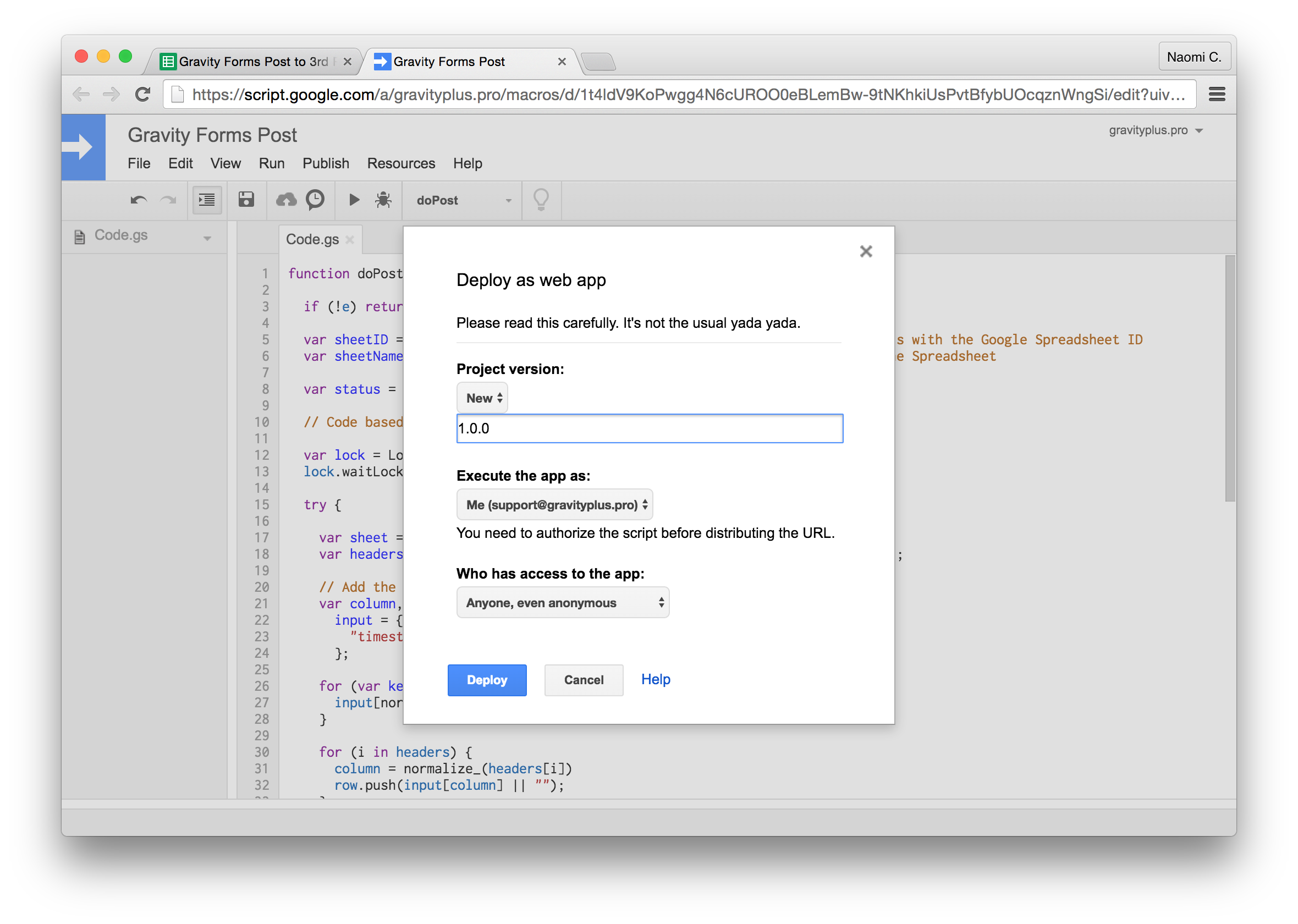 Gravity Forms to Google Sheets deploy info
