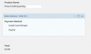 Gravity Forms Multiple Payment Options Radio Button Field