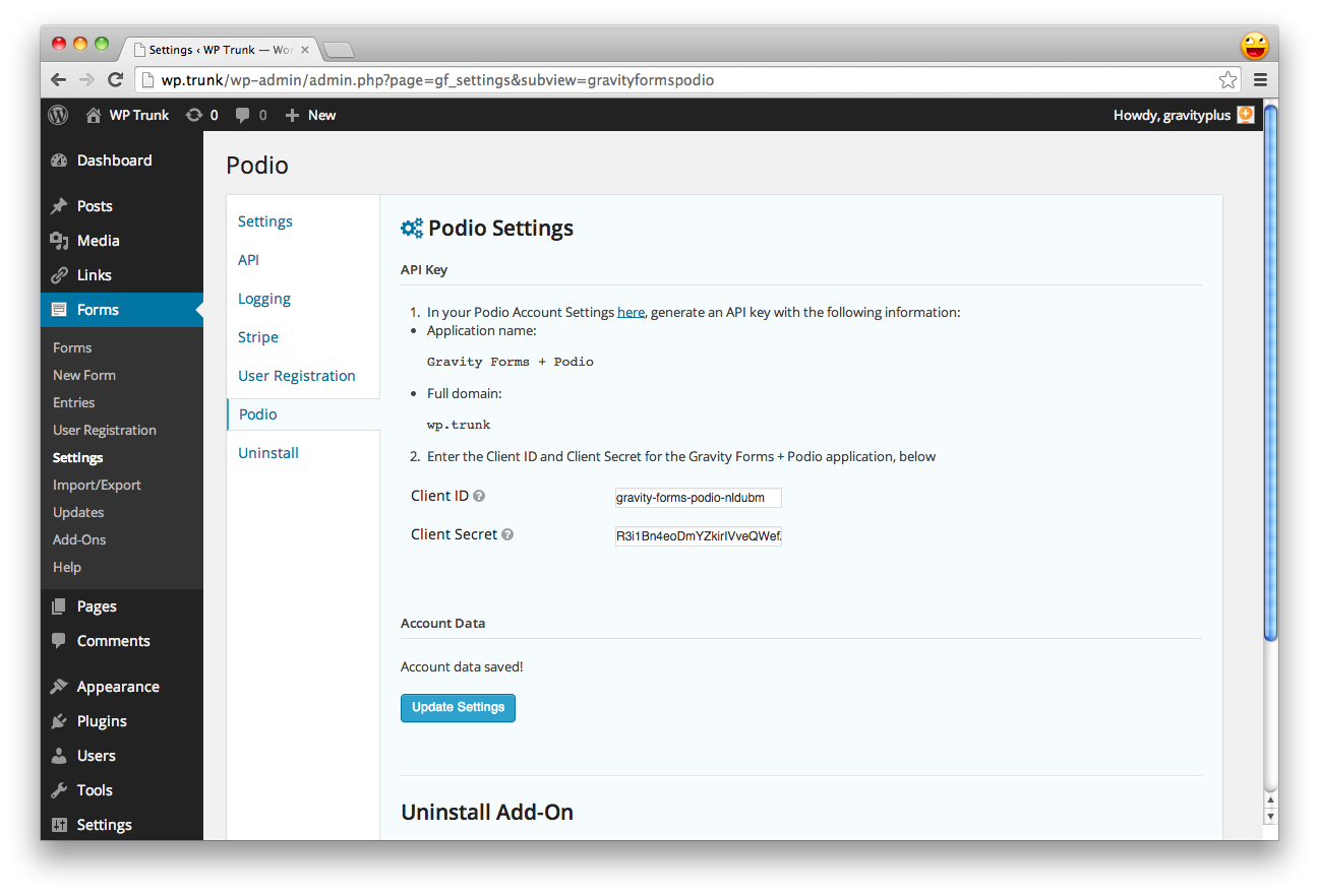 Enter your Podio account information