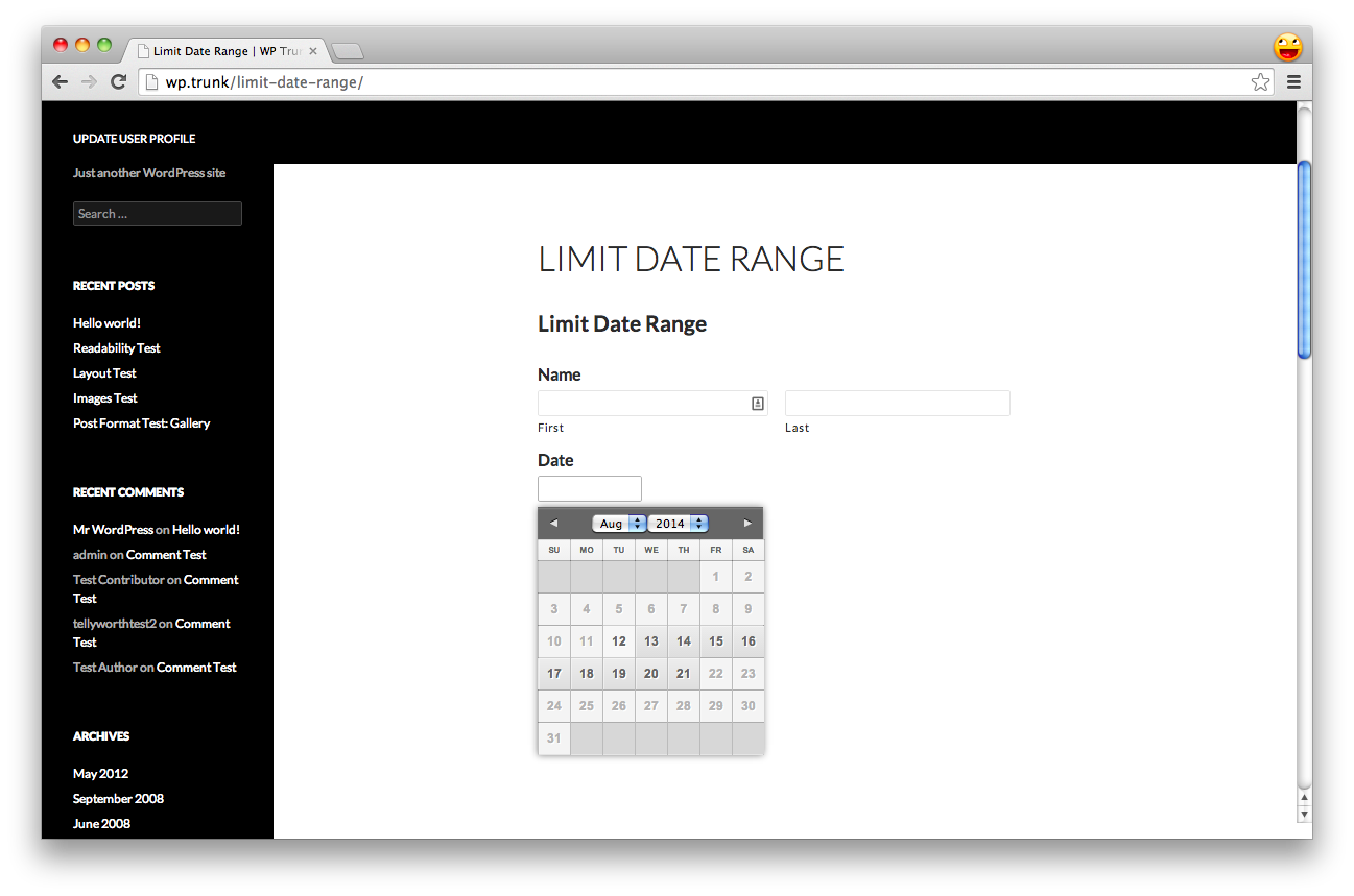 Gravity Forms Datepicker with limited date range